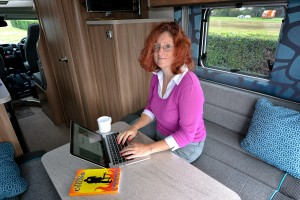 Patsy Collins in her campervan office